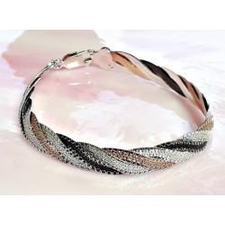 Silberschmuck - Armband-Bicolor 18,5 cm Silber 925 (SG85)*