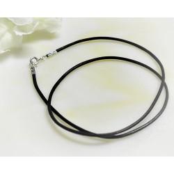 Lederband schwarz 38 cm - 60 cm / 1,5 mm  (KC171)