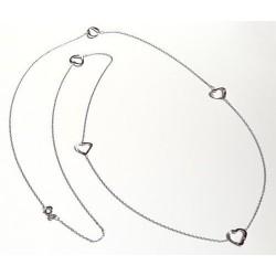 Silberschmuck - Collier 80 cm mit Herzen Silber-925 (SD107)*