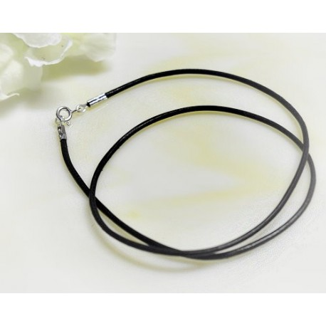 Silberschmuck - Lederband, schwarz  50 cm/ 1,5 mm  (KC175)*