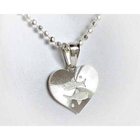 Silberschmuck -  Sternzeichen Herz - Fische (ST127))*