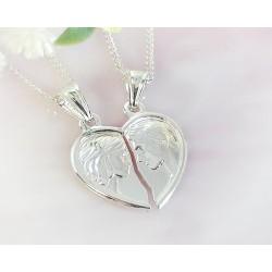 Silberschmuck - Anhänger Partner-Herz  Silber-925 (SU245)*