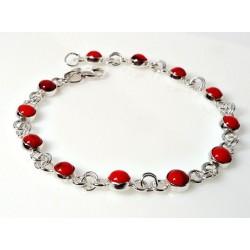 Silberschmuck - Armband m. Koralle Silber-925 (KL205)*