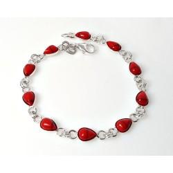 Silberschmuck - Armband m. Koralle Silber-925 (KL204)*