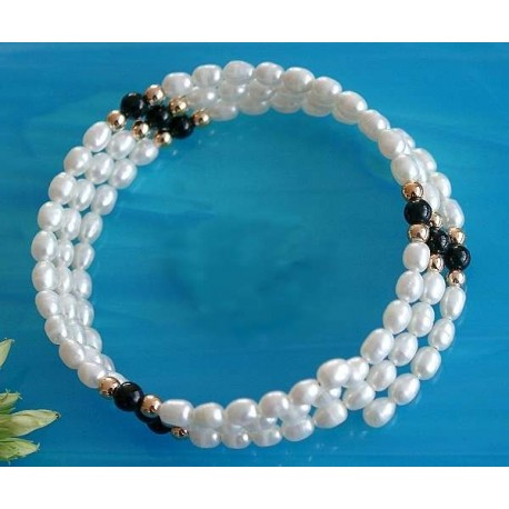 Perlen - Perlarmreif mit Onyx  (PER28)