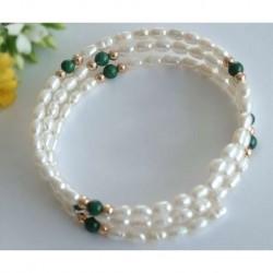 Perlen - Perlarmreif mit Malachit  (PER27)