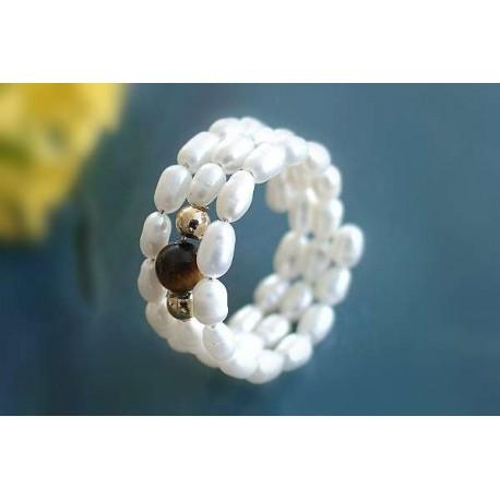 Perlen - Perlspiralring mit Tigerauge  (PER30)