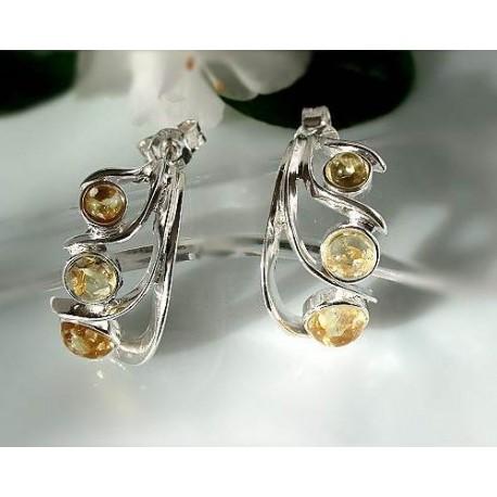 Bernstein Ohrstecker Silber 925 Ohrringe gelb Sterlingsilber L8