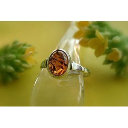 Bernsteinschmuck - Bernstein-Ring Silber-925 cognac braun oval  br323