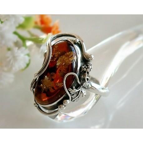 Bernsteinschmuck - Bernstein-Ring Silber-925  19,5 mm BK15