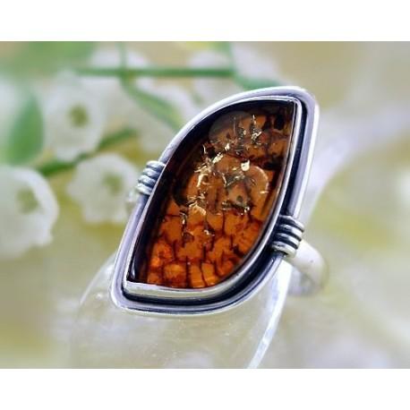 Bernsteinschmuck Bernstein Ring Silber 925  21 mm BK86a