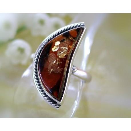 Bernsteinschmuck Bernstein Ring 18 mm Silber 925 BK81a