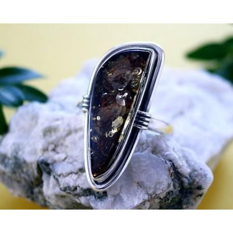 Bernsteinschmuck Bernstein Ring  Silber-925 BN06a