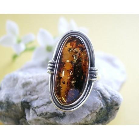 Bernsteinschmuck Bernstein Ring 16,5 mm Silber 925 BG95a