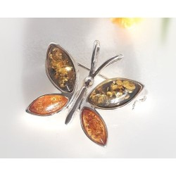 Bernsteinschmuck Brosche Schmetterling Silber 925 CY127*