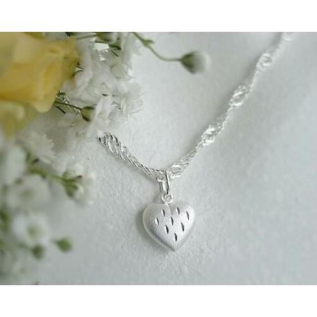 Silber Collier Herz 42 cm Silber 925 Silberschmuck 3P-01