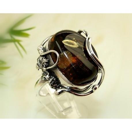 Bernstein-Ring 19 mm  Silber-925  (CI87A)