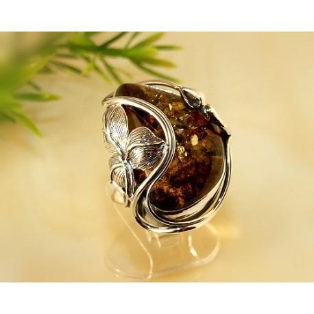 Bernsteinschmuck - Bernstein-Ring 18 mm Silber-925 CI52A*