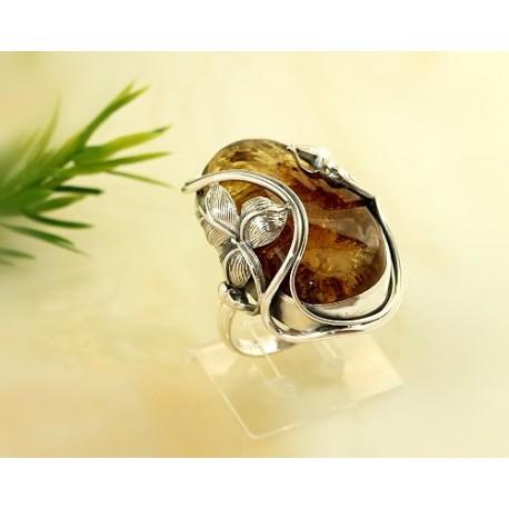 Bernstein-Ring 19,5  mm  Silber-925  (CD28A)