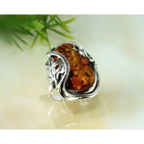 Bernsteinschmuck - Bernstein-Ring 19,5 mm  Silber-925  CD54A*