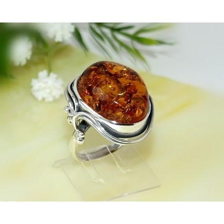 Bernsteinschmuck - Bernstein-Ring 19 mm  Silber-925  (CZ43)