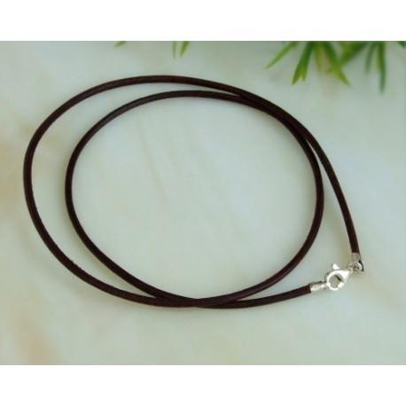 Silberschmuck - Lederband, braun  50 cm / 1,5 mm (KB36)*
