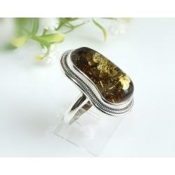 Bernsteinschmuck - Bernstein-Ring 20 mm  Silber-925  (HA36)