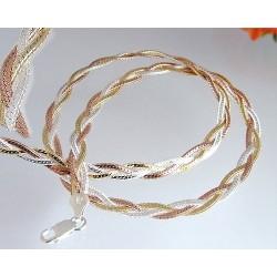 Silberschmuck - Designer-Bicolor-Collier 50cm Silber-925  (KB72)*