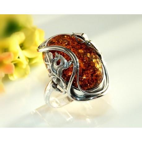 Bernsteinschmuck Bernstein Ring 19,5 mm Silber 925 HC51a