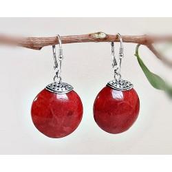Silberschmuck - Ohrhänger Schaumkoralle rot Silber-925 KL128