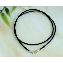 Silberschmuck - Lederband, schwarz 40 cm/ 3mm (KC28)*