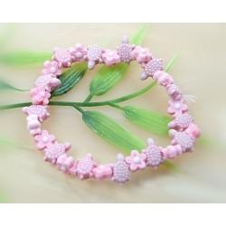 Kinderschmuck - Gummizug  Armband Schildkröte & Blume   (AK19)*