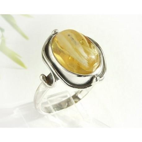 Bernsteinschmuck - Bernstein-Ring  19 mm Silber-925  (HF237)*