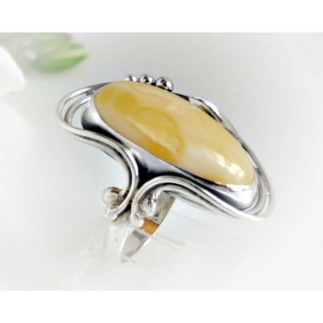 Bernsteinschmuck - Bernstein-Ring  18 mm Silber-925 (BR112)*