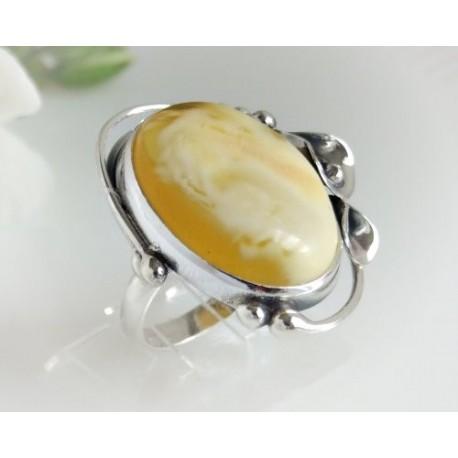 Bernsteinschmuck - Bernstein-Ring  17 mm Silber-925 (BR113)*
