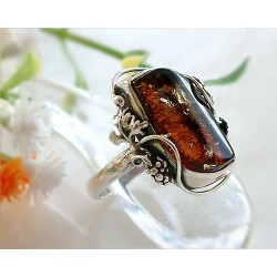 Bernsteinschmuck  Bernstein Ring 18 mm Silber 925  BT95