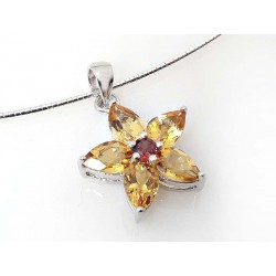 Collier Halsreif Silber 925 45 cm mit Blume Citrin Granat Sterlingsilber sd166