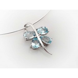 Collier Halsreif Silber 925 45 cm Schmetterling Aquamarin blau Sterlingsilber sd167