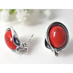 Silberschmuck -Ohrclips Koralle rot Silber-925 kl237