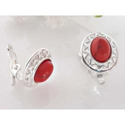Silberschmuck Ohrclips Koralle oval rot Silber-925 kl238