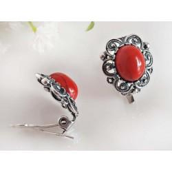 Silberschmuck Ohrclips Koralle oval rot Silber-925 kl239a