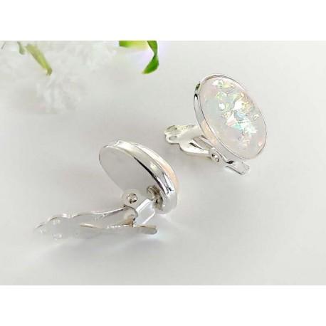 Silberschmuck Ohrclips synth. Opal oval weiß Silber-925  sb194