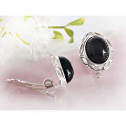 Silberschmuck Ohrclips Onyx schwarz oval Silber-925 se132a