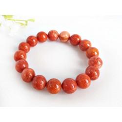 Silberschmuck Armband Schaumkoralle mit Gummizug Kugel rot kl31-17a
