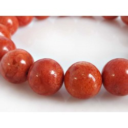 Silberschmuck Armband Schaumkoralle mit Gummizug Kugel rot kl06-17