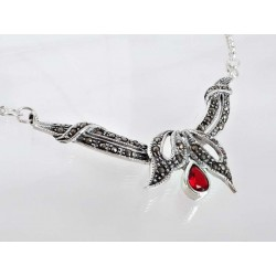 Silber Collier 45 cm Granat, Markasit rot Sterlingsilber 925 sd09