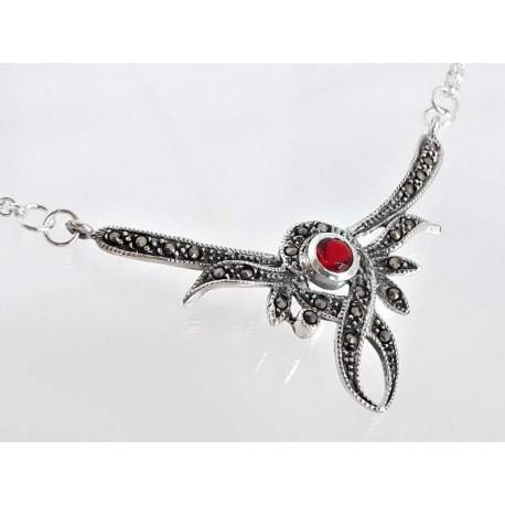 Silber Collier 45 cm Granat, Markasit rot Sterlingsilber 925 sd08