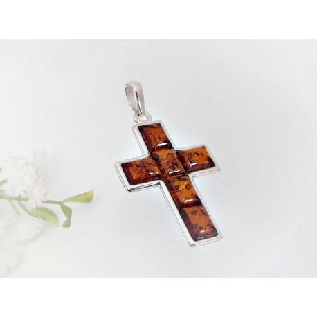 Bernstein Kreuz Anhänger cognac braun Sterlingsilber 925 ba412