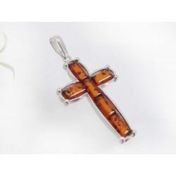 Bernstein Kreuz Anhänger cognac braun Sterlingsilber 925 ba411
