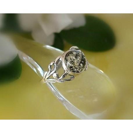 Bernstein Ring Silber 925 Ohrringe grün rund Sterlingsilber br326
